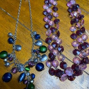 Two jewel tone necklaces
